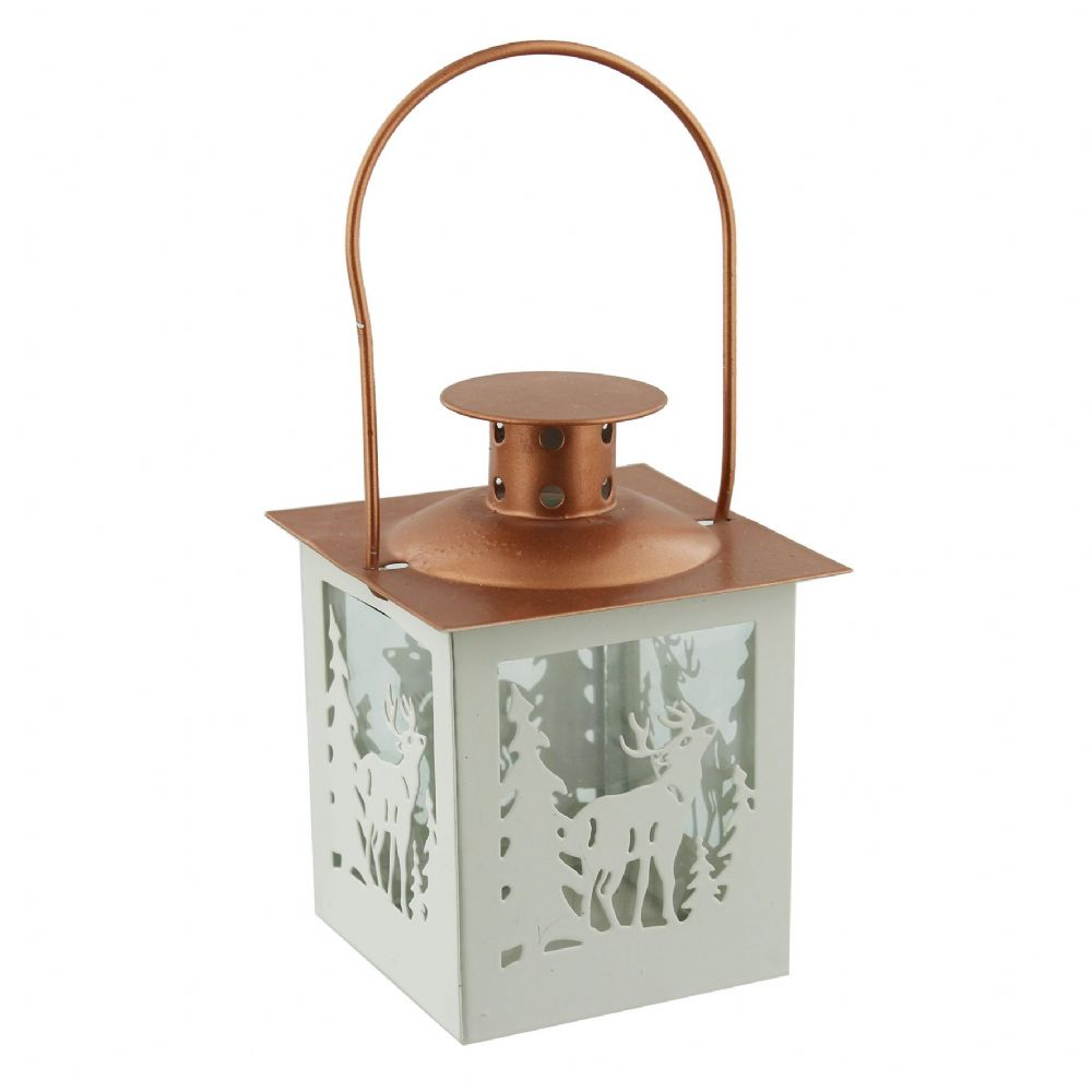 White and Copper Metal Christmas Lantern with Reindeer Cut Out Design Christmas Decorations